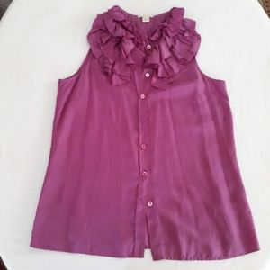 J. Crew Women Size 4 Sleeveless Ruffled To…